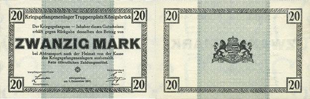 1.12.1917 DEUTSCHLAND - KRIEGSGEFANGENENLAGER (1914-1918) Allemagne. Königsbrück. Kriegsgefangenenlager - Truppenplatz Königsbrück. Billet. 20 mark 1.12.1917 I