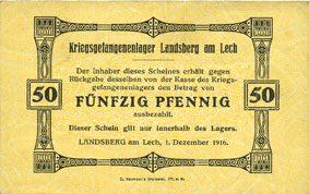 1.12.1916 DEUTSCHLAND - KRIEGSGEFANGENENLAGER (1914-1918) Allemagne. Landsberg. Kriegsgefangenenlager. Billet. 50 pf 1.12.1916 ss+ / ss