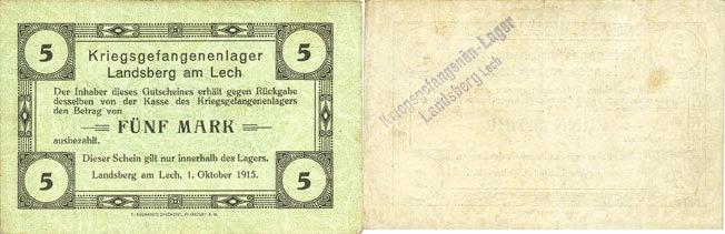 1.10.1915 DEUTSCHLAND - KRIEGSGEFANGENENLAGER (1914-1918) Allemagne. Landsberg. Kriegsgefangenenlager. Billet. 5 mark 1.10.1915 ss