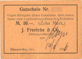 14.9.1916 DEUTSCHLAND - NOTGELDSCHEINE (1914-1923) A - J Einswarden. Frerichswerft. Billet. 10 mark 14.9.1916 Petite tache sinon ss+