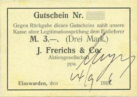 14.9.1916 DEUTSCHLAND - NOTGELDSCHEINE (1914-1923) A - J Einswarden. Frerichswerft. Billet. 3 mark 14.9.1916 vz