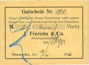 1916-11-16 DEUTSCHLAND - NOTGELDSCHEINE (1914-1923) A - J Einswarden. Frerichswerft. Billet. 2 mark 16.11.1916. N° 191 ! ss+