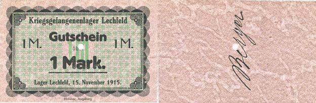 1915-11-15 DEUTSCHLAND - KRIEGSGEFANGENENLAGER (1914-1918) Allemagne. Lechfeld. Kriegsgefangenenlager. Billet. 10 mrk 15.11.1915 Signature imprimée en noir/dos I