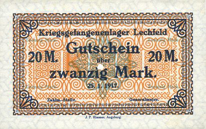 25.1.1917 DEUTSCHLAND - KRIEGSGEFANGENENLAGER (1914-1918) Allemagne. Lechfeld. Kriegsgefangenenlager. Billet. 20 mark 25.1.1917 vz+
