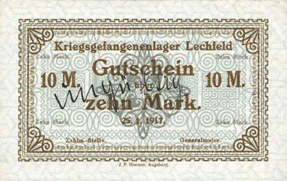 25.1.1917 DEUTSCHLAND - KRIEGSGEFANGENENLAGER (1914-1918) Allemagne. Lechfeld. Kriegsgefangenenlager. Billet. 10 mark 25.1.1917 vz