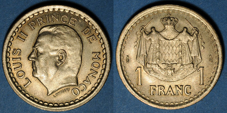 1943 EUROPA Monaco. Louis II (1922-1949). 1 franc n. d. (1943) vz