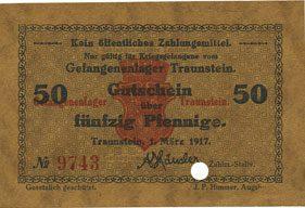 1.3.1917 DEUTSCHLAND - KRIEGSGEFANGENENLAGER (1914-1918) Traunstein. Gefangenenlager. Billet. 50 pf 1.3.1917, Annulation par perforation I