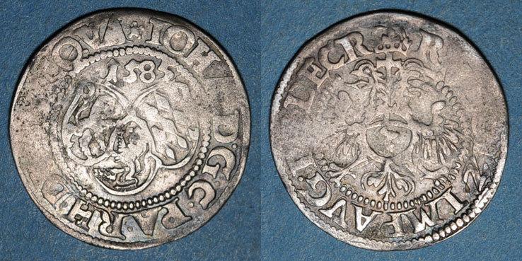 1585 ALTDEUTSCHLAND MÜNZEN Palatinat-Deux-Ponts. Jean l'aîné (1569-1604). 3 kreuzer 1585. Deux-Ponts (Zweibrücken). R ! R ! s