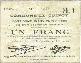 1915 FRANZÖSISCHE NOTSCHEINE Cuincy (59). Commune. Billet. 1 franc, émis en 1915 s