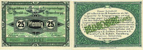 1.10.1917 DEUTSCHLAND - KRIEGSGEFANGENENLAGER (1914-1918) Brandenburg. Inspektion der KGL im Bereich des XIII. Armeekorps. Billet. 25 pf 1.10.1917 I