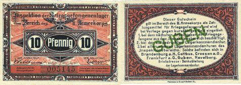 1.10.1917 DEUTSCHLAND - KRIEGSGEFANGENENLAGER (1914-1918) Guben. Inspektion der KGL im Bereich des XIII. Armeekorps. Billet. 10 pf 1.10.1917 I