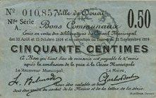 1914-10-15 FRANZÖSISCHE NOTSCHEINE Douai (59). Ville. Billet. 50 centimes 30.8 et 15.10.1914, nlle série, A vz