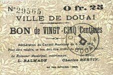 6.6.1915 FRANZÖSISCHE NOTSCHEINE Douai (59). Ville. Billet. 25 centimes 6.6.1915 ss+ / s+