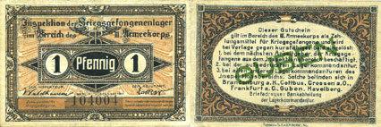 1.10.1917 DEUTSCHLAND - KRIEGSGEFANGENENLAGER (1914-1918) Guben. Inspektion der KGL im Bereich des XIII. Armeekorps. Billet. 1 pf 1.10.1917 ss