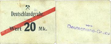DEUTSCHLAND - KRIEGSGEFANGENENLAGER (1914-1918) Schwientochlowitz (Swietochlowice, Pologne). Deutschlandgrube. Billet. 20 mark n. d. Petites taches, ss / vz