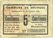 1915-10-18 FRANZÖSISCHE NOTSCHEINE Dourges (62). Commune. Billet. 5 centimes 18.10.1915 s