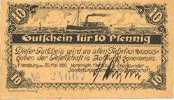 DEUTSCHLAND - NOTGELDSCHEINE (1914-1923) A - J Flensburg. Vereinigte Flensburg-Ekensunder und Sonderburger Dampschiffs-Gesellschaft. Billet. 10 pf I