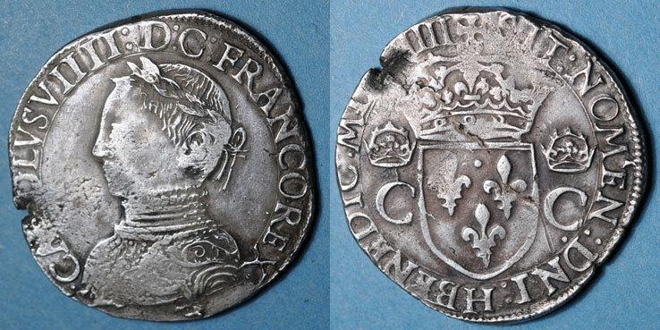 1564 H FRANZÖSISCHE KÖNIGLICHE MÜNZEN Charles IX (1560-1574). Teston, 1er type. 1564H. La Rochelle Faiblesse de frappe et flan éclaté sinon ss