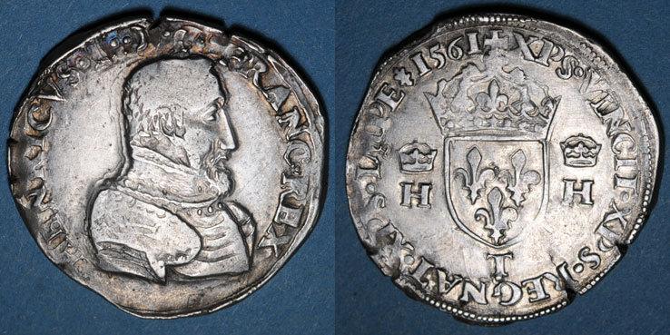 1561 T FRANZÖSISCHE KÖNIGLICHE MÜNZEN Charles IX (1560-1574). Monnayage au nom de Henri II. Teston, 2e type, 1561T. Nantes Haut de la tête non venu à la frappe sinon vz