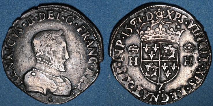 1561 Z FRANZÖSISCHE KÖNIGLICHE MÜNZEN Charles IX (1560-1574). Monnayage au nom de Henri II. Teston du Dauphiné 1561Z. Grenoble (Z pointé) Légère faiblesse de frappe, ss / ss+