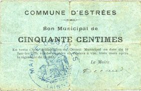 10.1.1915 FRANZÖSISCHE NOTSCHEINE Estrées (02). Commune. Billet. 50 centimes 10.1.1915 s