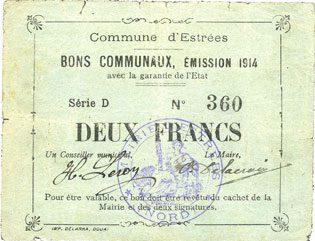 1914 FRANZÖSISCHE NOTSCHEINE Estrées (59). Commune. Billet. 2 francs, émission 1914, série D s+