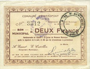 13.8.1915 FRANZÖSISCHE NOTSCHEINE Etréaupont (02). Commune. Billet. 2 francs 13.8.1915 Petite déchirure (5 mm), ss