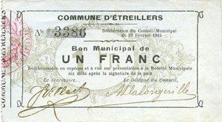 19.2.1915 FRANZÖSISCHE NOTSCHEINE Etreillers (02). Commune. Billet. 1 franc 19.2.1915 vz
