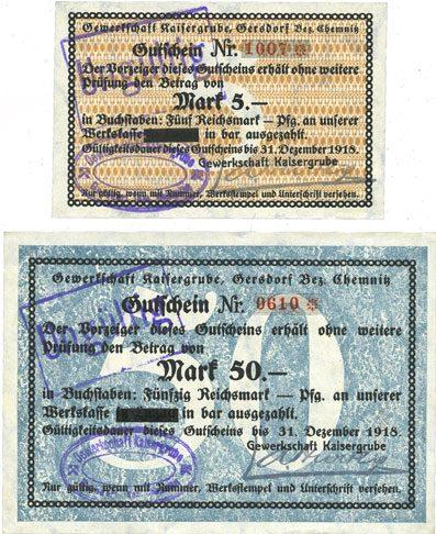1918-12-31 DEUTSCHLAND - NOTGELDSCHEINE (1914-1923) A - J Gersdorf. Gewerkschaft Kaisergrube. Billets. 5, 50 mark n.d. - 31.12.1918 2 billets, neuf et vz+