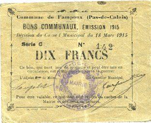 18.3.1915 FRANZÖSISCHE NOTSCHEINE Fampoux (62). Commune. Billet. 2 francs 18.3.1915, série C ss