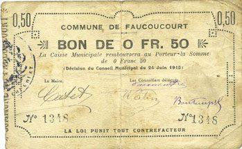 24.6.1915 FRANZÖSISCHE NOTSCHEINE Faucoucourt (02). Commune. Billet. 0,50 franc 24.6.1915 s
