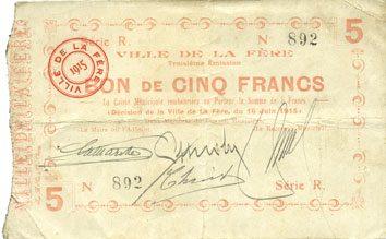 16.6.1915 FRANZÖSISCHE NOTSCHEINE La Fère (02). Ville. Billet. 5 francs 16.6.1915, série N ss / s+