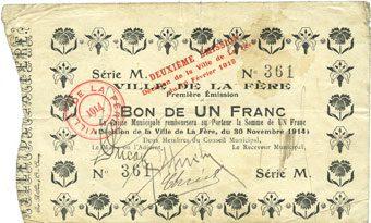 1914-11-30 FRANZÖSISCHE NOTSCHEINE La Fère (02). Ville. Billet. 1 franc 30.11.1914, série M Tache, ss / s+