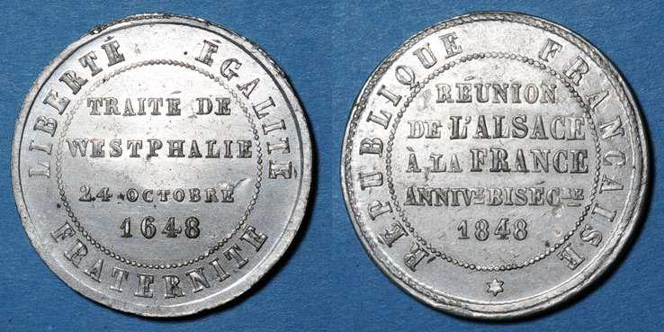 1848 ELSAß 2e centenaire de la Réunion de l'Alsace à la France (traité de Westphalie). 1848. Médaille en étain vz