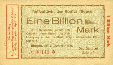 6.11.1923 DEUTSCHLAND - NOTGELDSCHEINE (1914-1923) K -Z Mayen, Kreis, Emission des séparatistes, billet, 1 billion mk