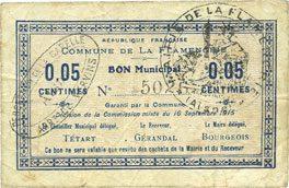 16.9.1915 FRANZÖSISCHE NOTSCHEINE La Flamengrie (02). Commune. Billet. 0,05 centimes 16.9.1915 s