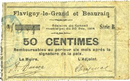 1914-12-20 FRANZÖSISCHE NOTSCHEINE Flavigny-le-Grand et Beaurain (02). Billet. 50 centimes 20.12.1914, série B s