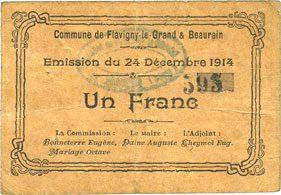 1914-12-24 FRANZÖSISCHE NOTSCHEINE Flavigny-le-Grand et Beaurain (02). Billet. 1 franc 24.12.1914 s