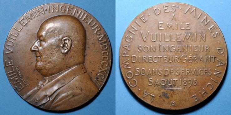 1895 MEDAILLEN Mines d'Aniche. 50 ans de services de son directeur-gérant. Emile Vuillemin. Médaille bronze. 1895 R ! Petit coup / tranche, ss+