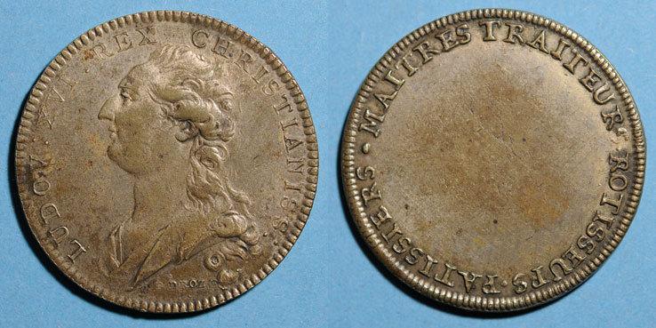 1774-1793 MARKEN - JETONS (RECHENPFENNIGE) Paris. Traiteurs, pâtissiers, rôtisseurs. Louis XVI (1774-1793). Jeton laiton argenté n. d. ss