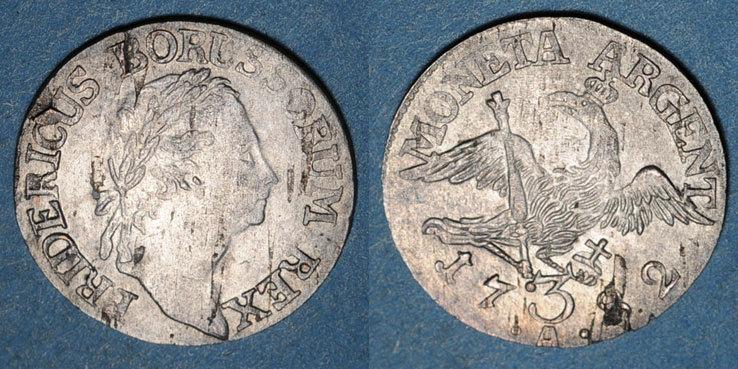 1782 A ALTDEUTSCHLAND MÜNZEN Prusse. Frédéric II (1740-1786). 3 gröscher 1782A. Berlin Flan légèrement paillé sinon ss+
