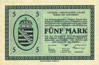1.1.1916 DEUTSCHLAND - KRIEGSGEFANGENENLAGER (1914-1918) Wiesa bei Annaberg. Offizier- Gefangenenlager. Billet. 5 mark 1.1.1916 I