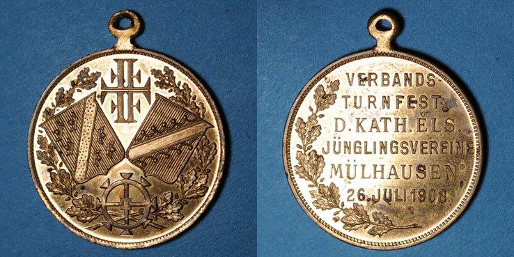 1908 ELSAß Alsace. Mulhouse. Tournoi de gymnastique des Jeunesses Catholiques. 1908. Médaille cuivre doré 28 mm vz / ss-vz