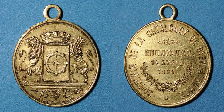 1884 ELSAß Alsace. Mulhouse. Cavalcade de bienfaisance. 1884. Médaille en laiton. 28 mm ss+