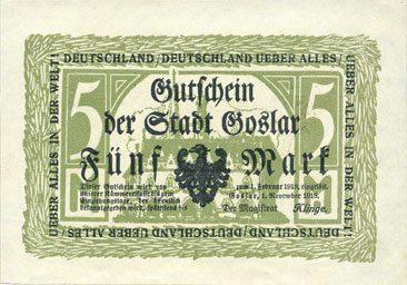 1.11.1918 DEUTSCHLAND - NOTGELDSCHEINE (1914-1923) A - J Goslar. Stadt. Billet. 5 mark 1.11.1918 vz+