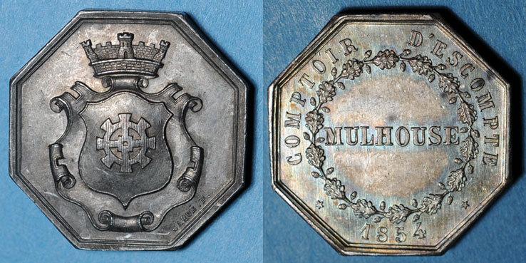 1854 ELSAß Alsace. Mulhouse. Comptoir d'Escompte. 1854. Jeton de présence en argent R ! vz