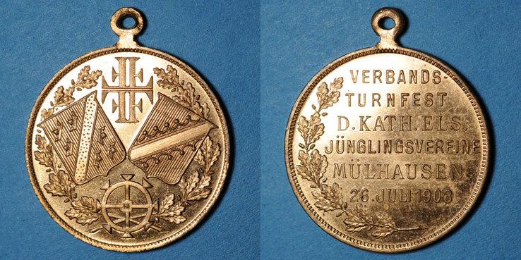 1908 ELSAß Alsace. Mulhouse. Tournoi de gymnastique des Jeunesses Catholiques. 1908. Médaille cuivre doré 28 mm vz