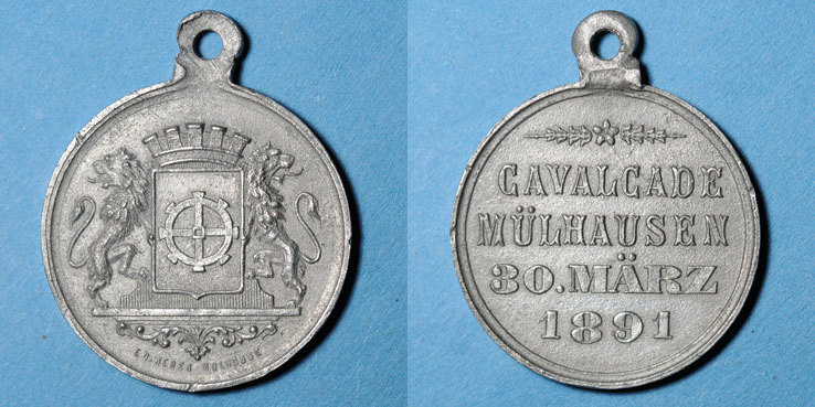1891 ELSAß Alsace. Mulhouse. Cavalcade. 1891. Médaille en étain. 29 mm Petits chocs / listel, ss