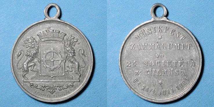 1885 ELSAß Alsace. Mulhouse. Concours musical. 1885. Médaille en étain. 28 mm ss