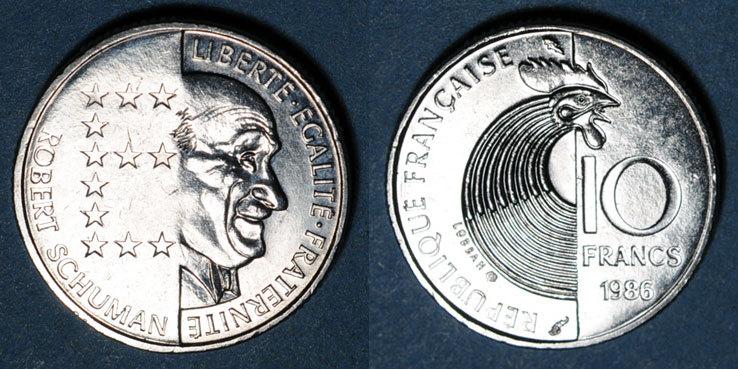 1986 FRANZÖSISCHE MODERNE MÜNZEN 5e république (1959-), 10 francs 1986
